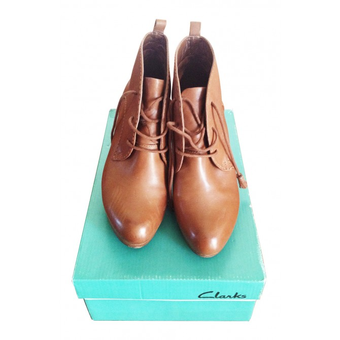 CLARKS brown booties