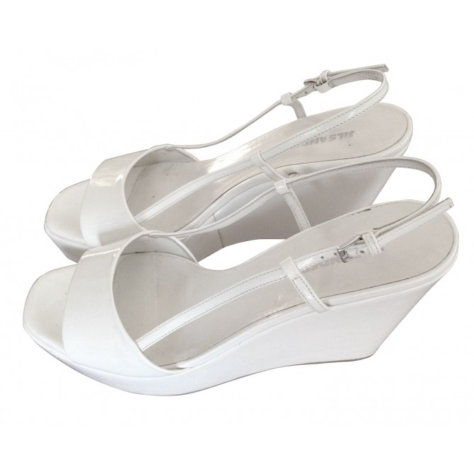 JIL SANDER white patent leather platforms