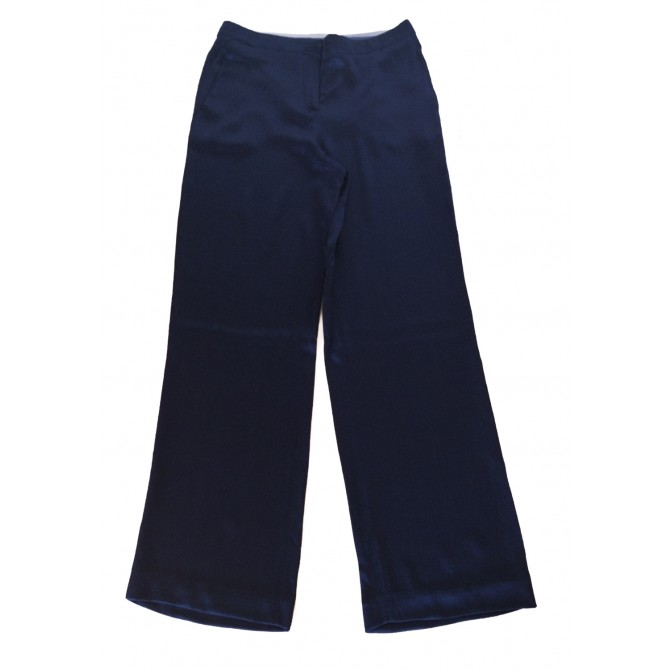 ALBERTA FERETTI BLUE SILK TROUSERS.