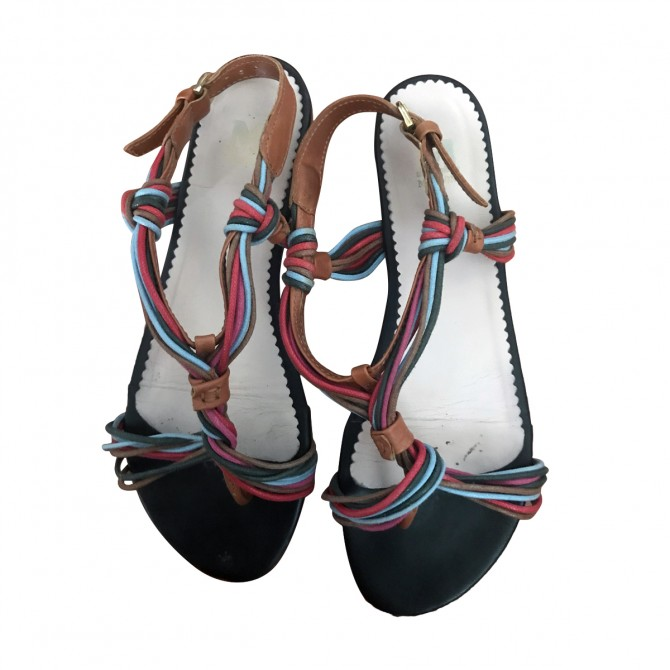 MISSONI SANDALS MULTICOLOR LEATHER FLATS IT 38 OR US7,5