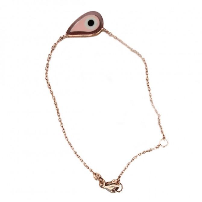 Very Gavello rose gold pink eye charm bracelet