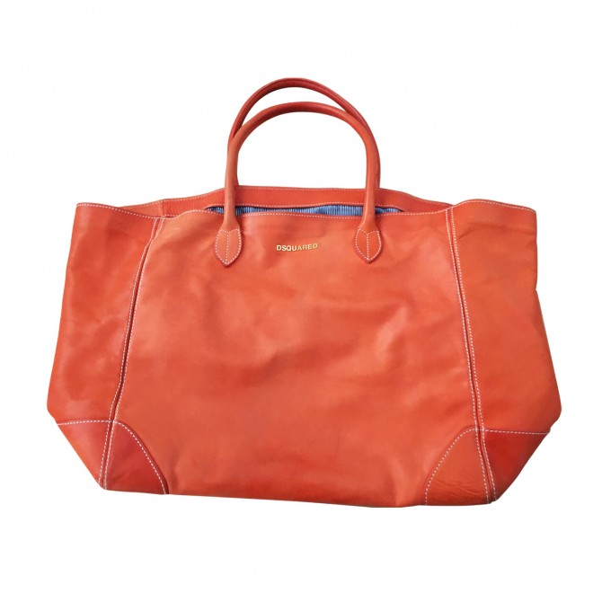 DSquared fabulous tote in bright orange butter soft leather