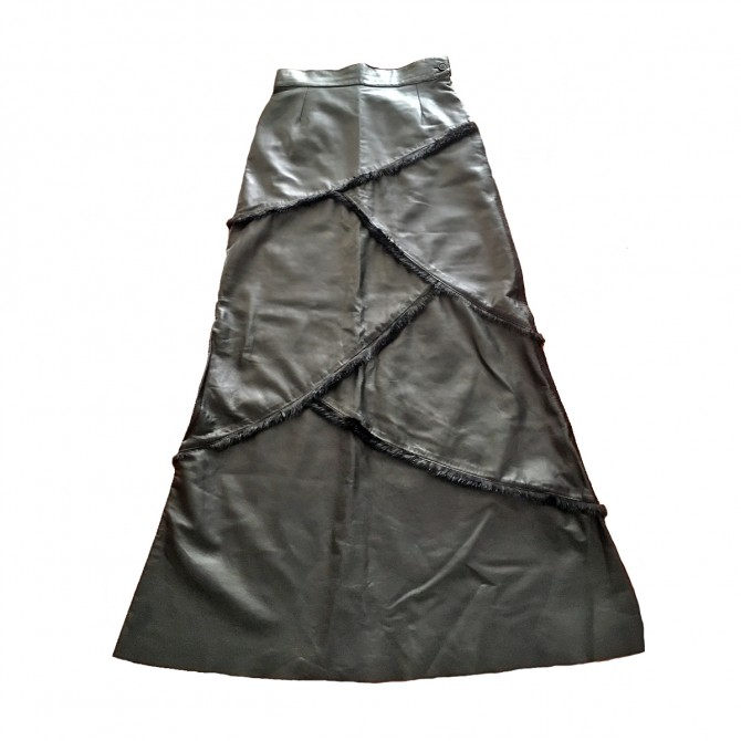 THES TZIVELLI luxury maxi leather and fur skirt