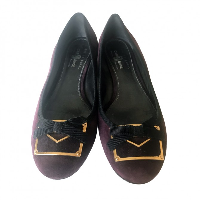 CAR SHOE flats in burgundy suede