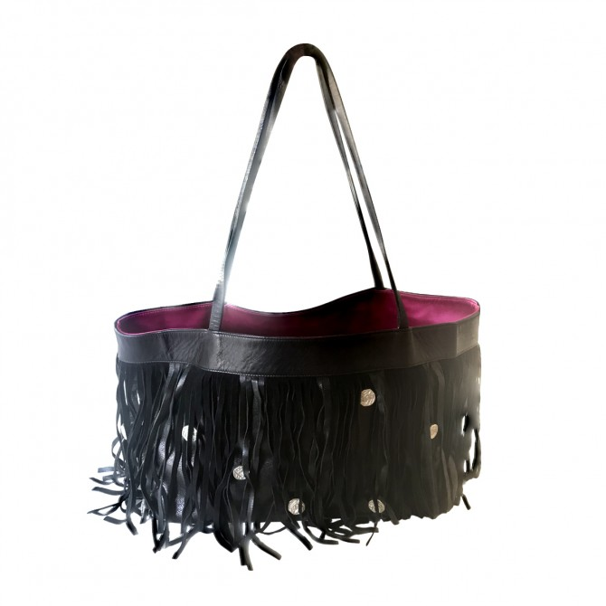 FOLLI  FOLLIE BLACK LEATHER FRINGED BAG