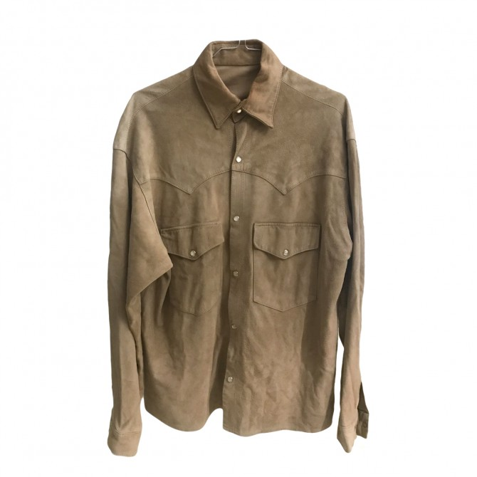 SUEDE SHIRT IN BEIGE CAMEL COLOR HANDMADE