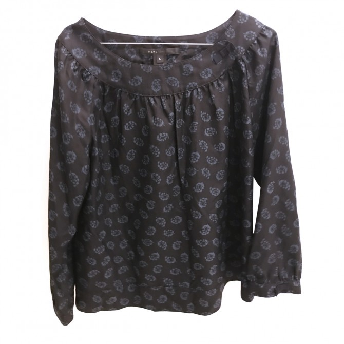 MARC JACOBS BLACK SILK BLOUSE WITH BLUE PRINT