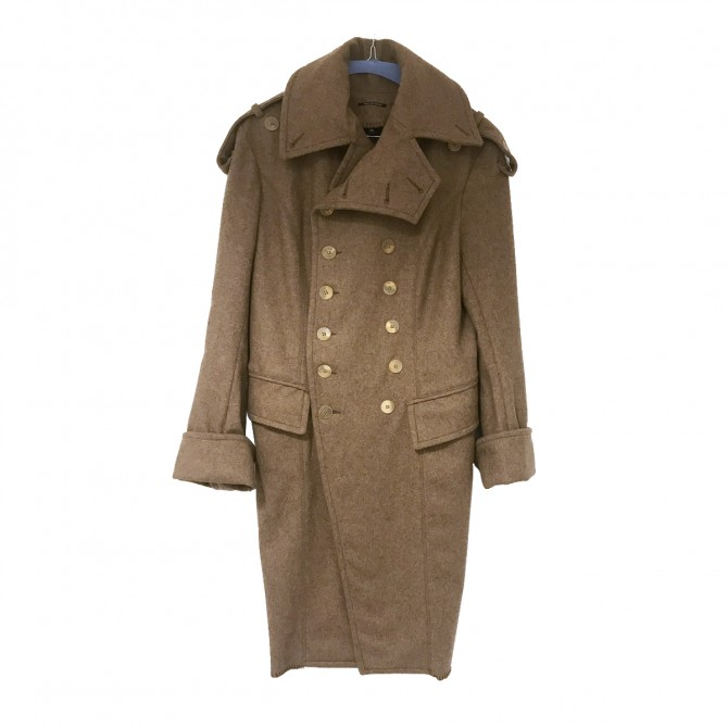 PLEIN SUD virgin wool camel coat militaire style