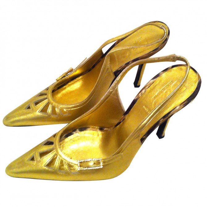 DOLCE & GABBANA GOLD COLOR LEATHER SLINGBACKS
