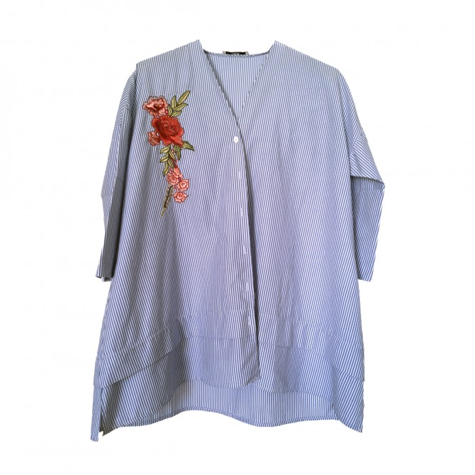 Stripped cotton shirt  flower embroidered