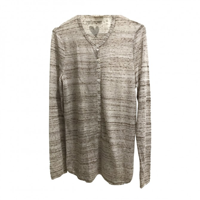 ZADIG & VOLTAIRE  BEIGE LONG SLEEVED TOP SIZE L