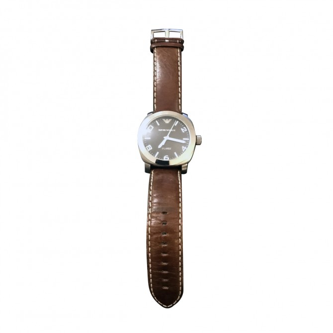 EMPORIO ARMANI BLACK FACE BROWN LEATHER STRAP MEN'S WATCH