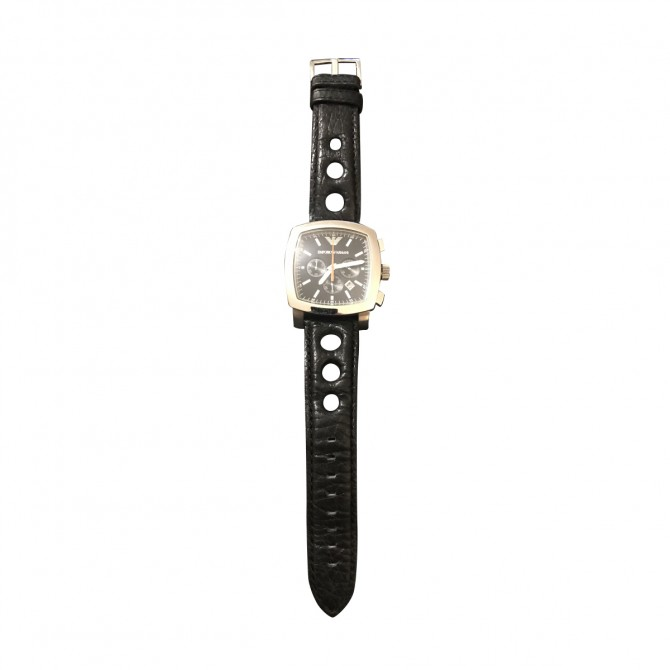 EMPORIO ARMANI BLACK LEATHER STRAP SQUARE WATCH