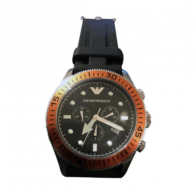 EMPORIO ARMANI black rubber strap watch