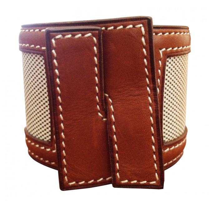 HERMES wide leather bracelet