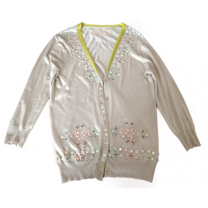 MATTHEW WILLIAMSON EMBELLISHED SILK KNITWEAR CARDIGAN