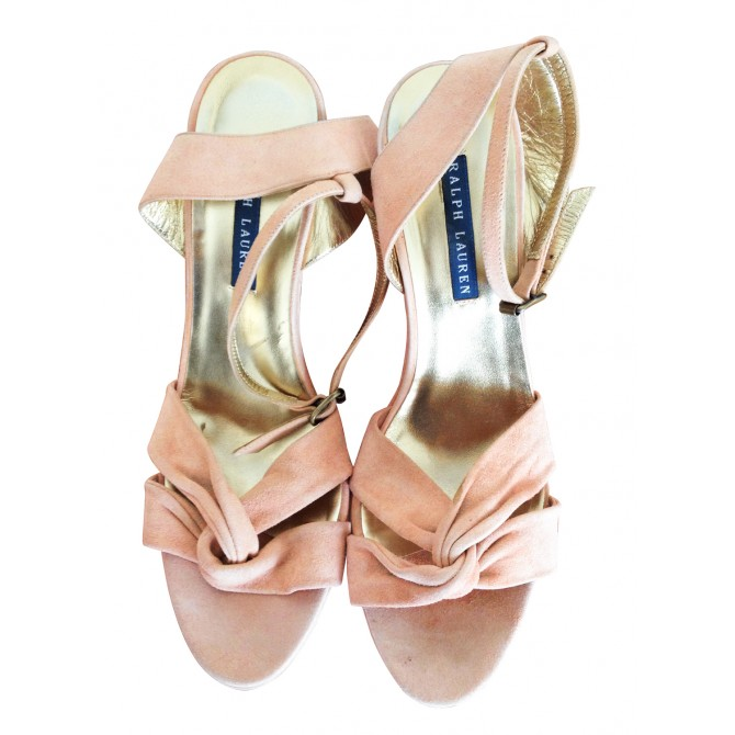 RALPH LAUREN PLATFORM SANDALS in antique rose suede