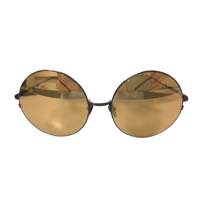 LINDA FARROW gold metal gold mirror lenses luxury sunglasses