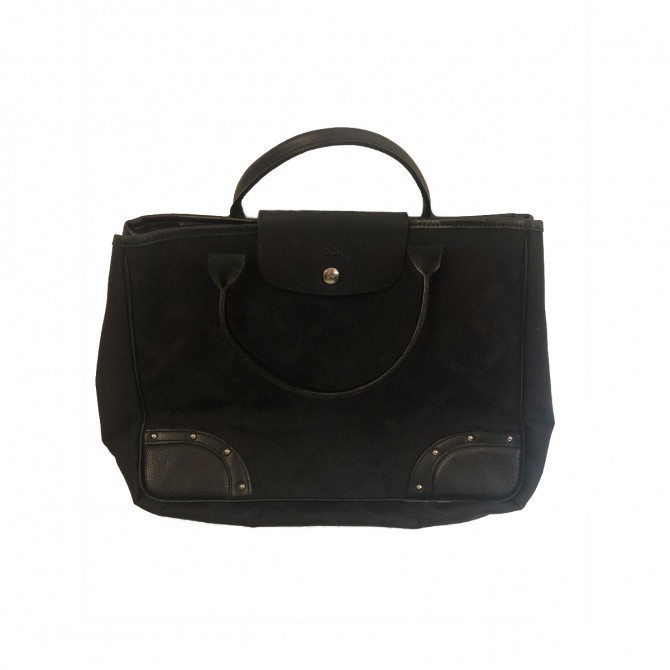 Longchamp black canvas tote bag