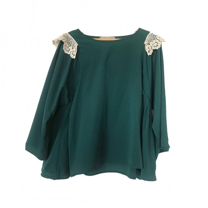 Madame Sou Sou forest green top with embroidery details