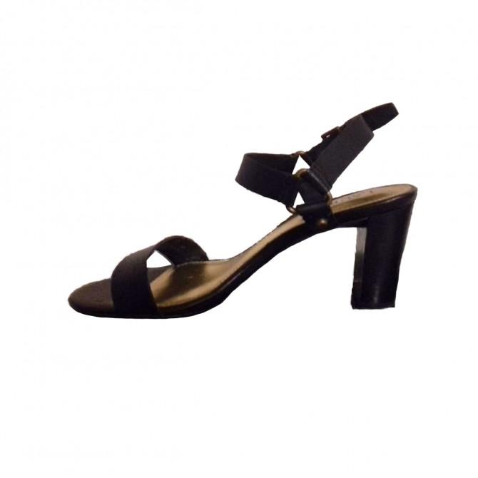 Ralph Lauren black leather heeled sandals size IT38