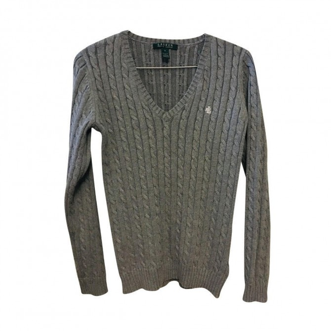 Ralph Lauren Women's V-Neck Cable Knit Cotton Jumper size S