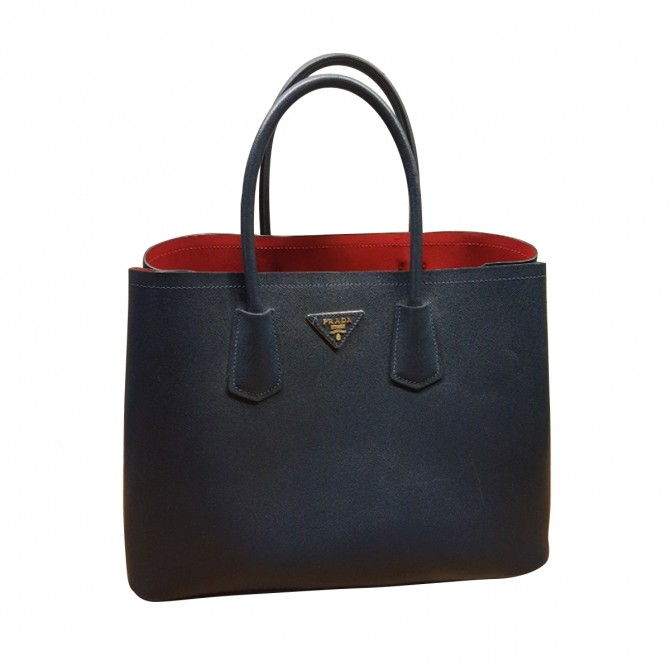 PRADA saffiano leather dark blue tote bag