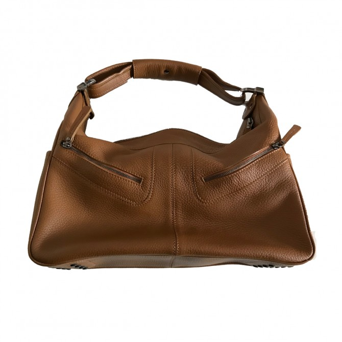 Tod's Robin's Peevled Leather Hobo bag in camel color