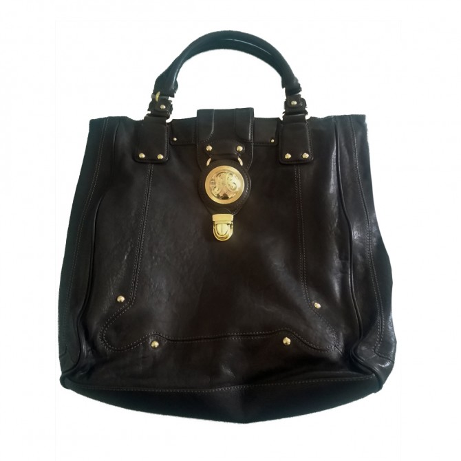 JUICY COUTURE black leather bag with gold tone metal details