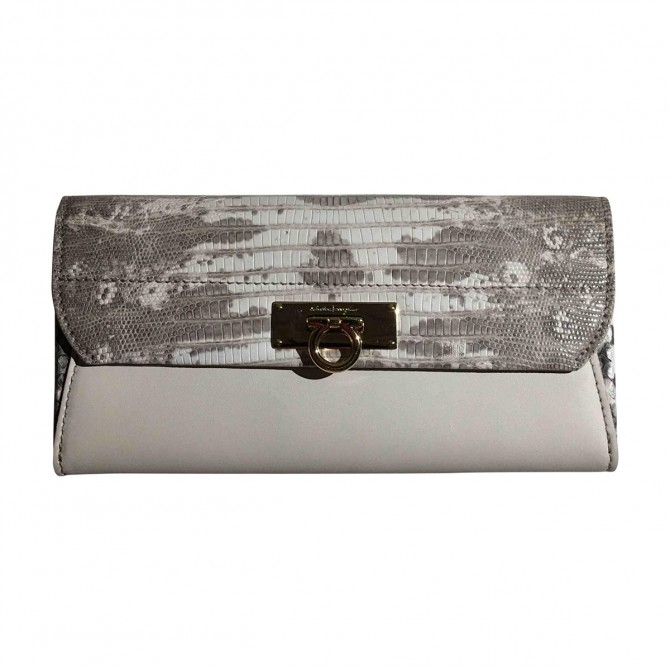 Salvatore Ferragammo python and leather large wallet