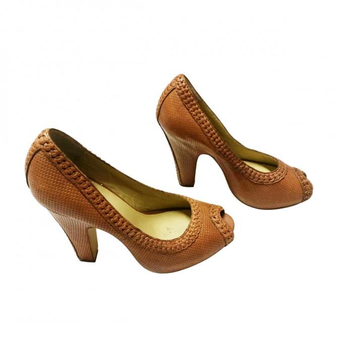 ASH camel leather heels open toe