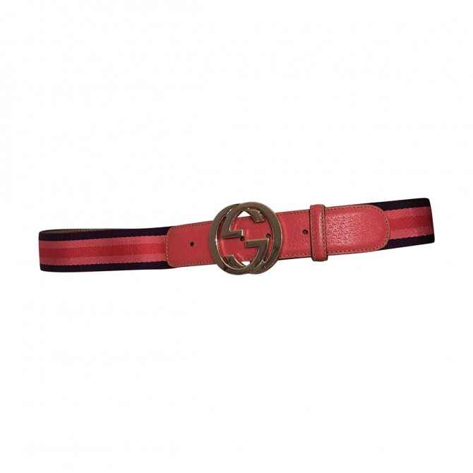 GUCCI leather and fabric GG purple belt
