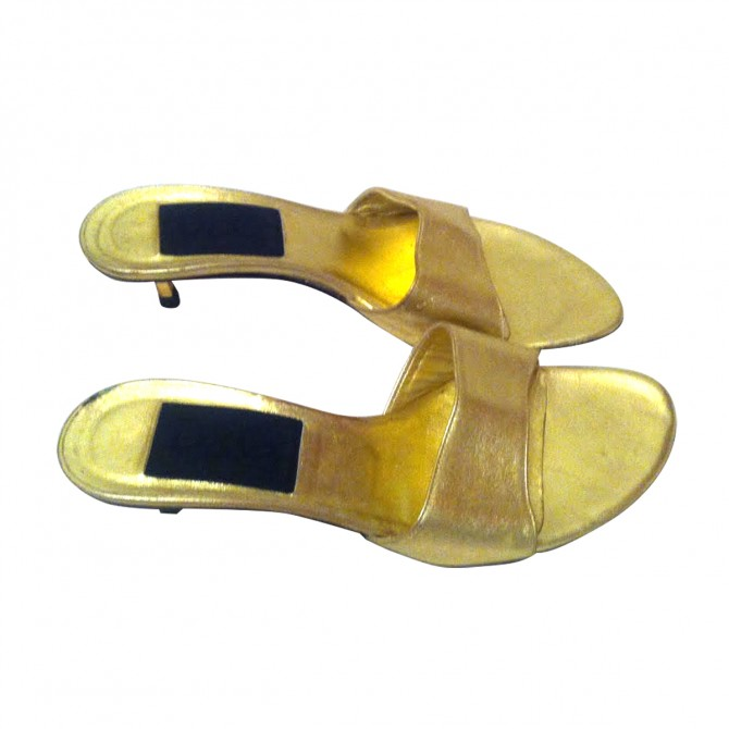 D&G gold tone leather sandals