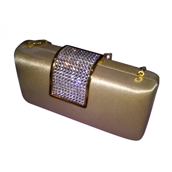 Gold Satin clutch bag