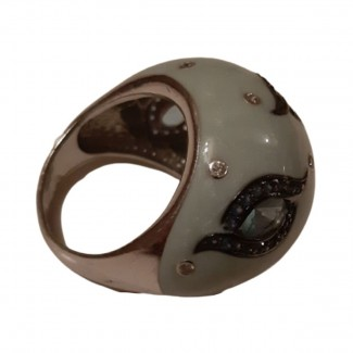 Enamel silver ring with white and black zircon and semi-precious stones size 57.5