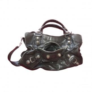 Balenciaga city dark grey leather bag