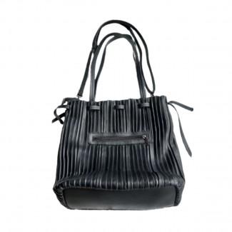 Eco leather black pleated bag