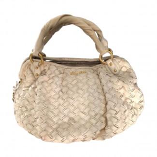 MIU MIU leather woven bag