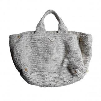 Prada light grey wicker bag