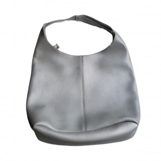 Eco leather silver bag with extra pouch/crossbody bag