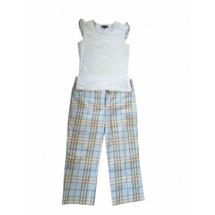 Burberry two pieces set in baby blue check pattern size US4