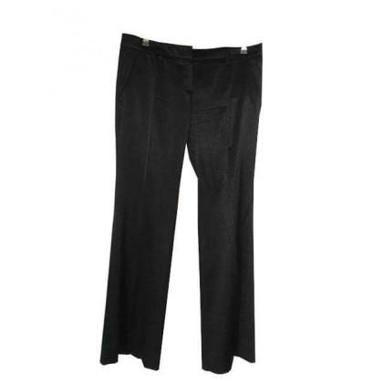 Prada silk black straight leg trousers