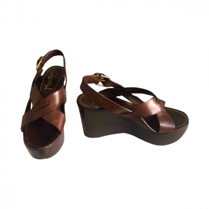 YSL leather platform sandals size IT38