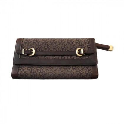 DKNY logo brown wallet