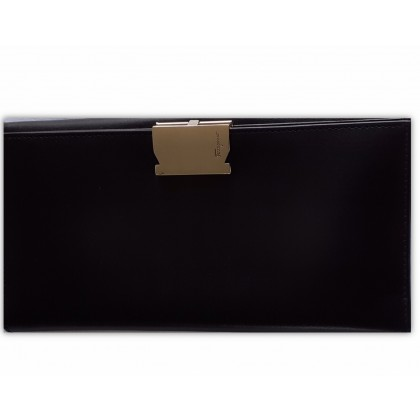 Salvatore Ferragamo black leather wallet with gold tone hardware