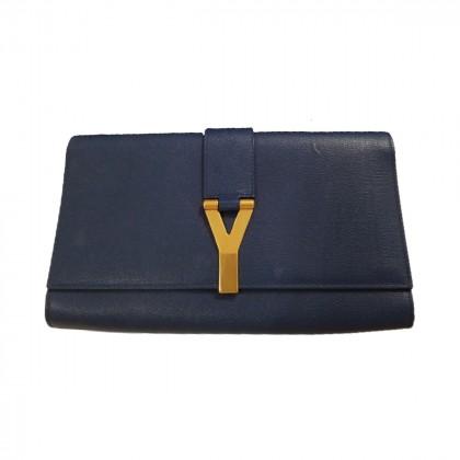 YSL blue leather clutch