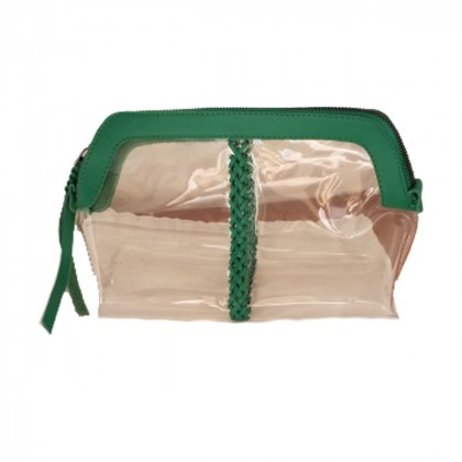 Brand new Callista transparent green clutch bag with leather details