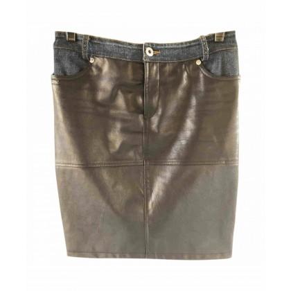 Dolce & Gabanna black leather mini skirt with denim details size IT38