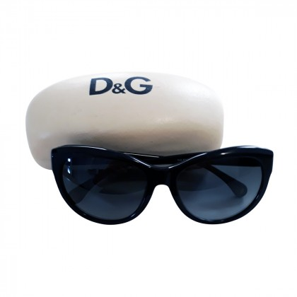 DOLCE & GABBANA BLACK EYE CAT LARGE FRAME SUNGLASSES
