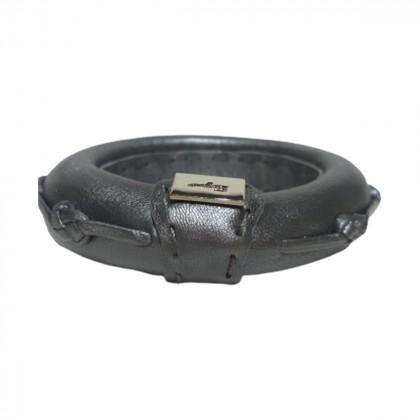 Salvatore Ferragamo grey leather bangle bracelet